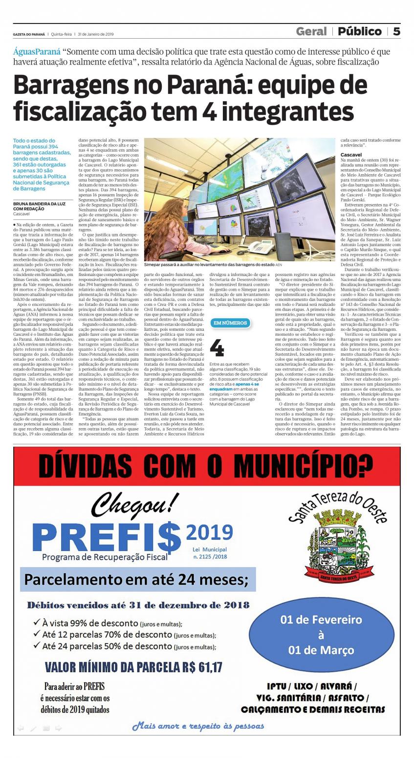 #PraTodosVerem - Matéria que fala sobre a questão das barragens do paraná terem quatro fiscalizadores