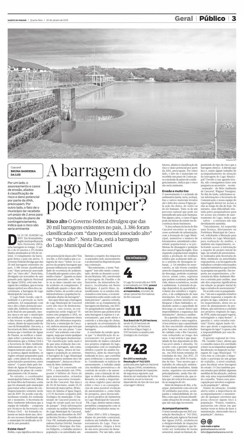 #PraTodosVerem - Matéria da capa do jornal falando sobre o risco de queda da barragem paranaense