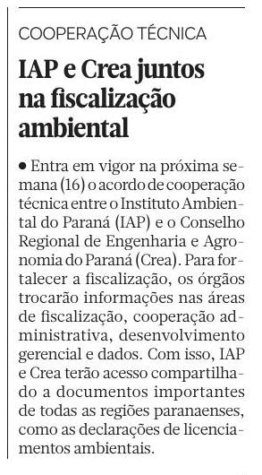 #PraTodosVeres - Nota em jornal comentando sobre o recente convênio firmado entre Crea e IAP
