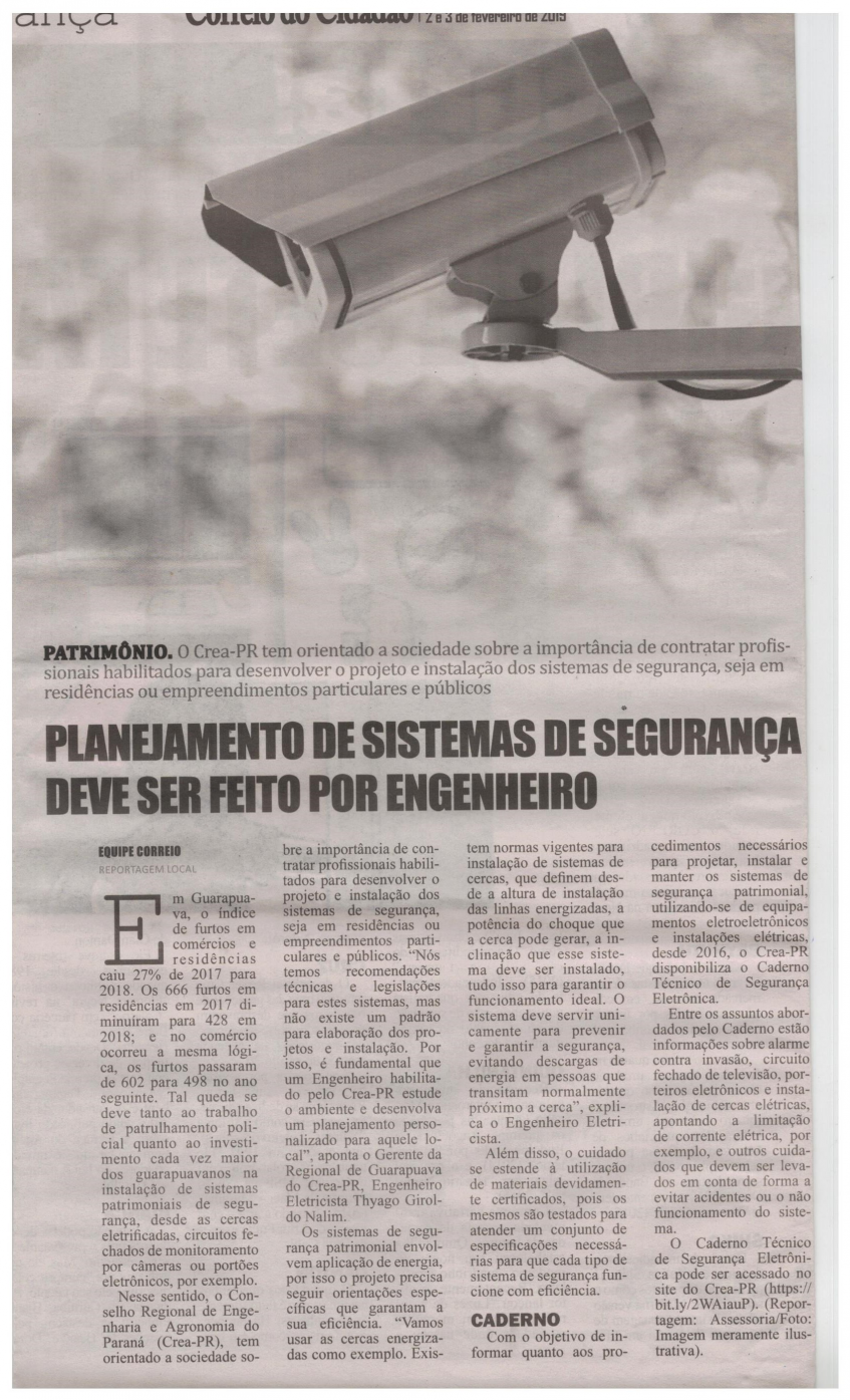 #PraTodosVerem - Matéria de página inteira sobre a segurança patrimonial.