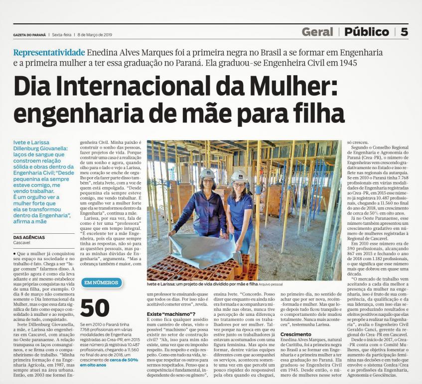 Matéria de página inteira sobre o Dia Internacional da Mulher