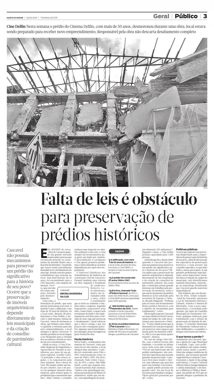 #PraTodosVerem - Matéria de página inteira sobre a falta de leis para preservação de prédios históricos