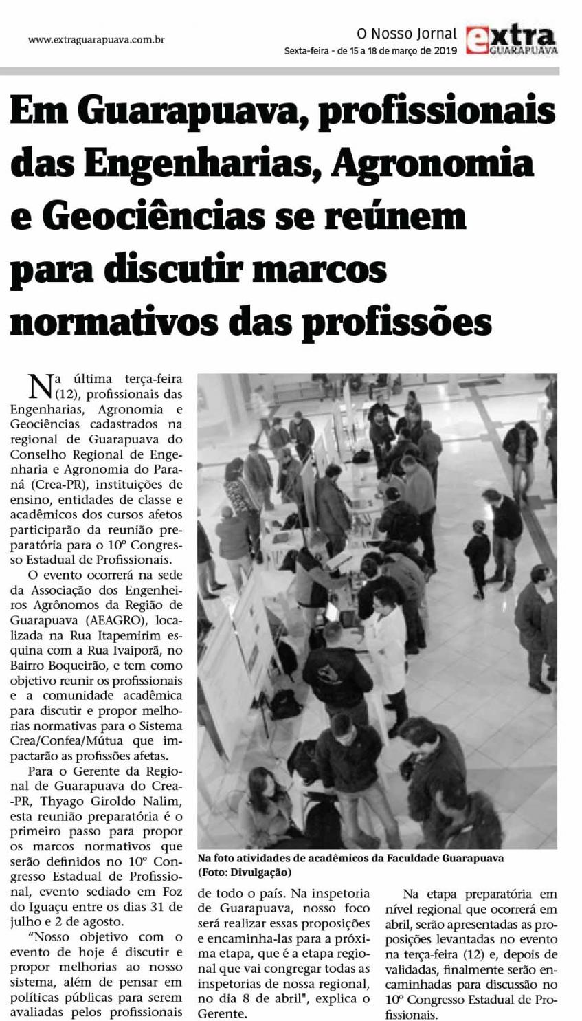 Matéria de 1/3 de página sobre a discussão sobre o normativo das profissões em Guarapuava
