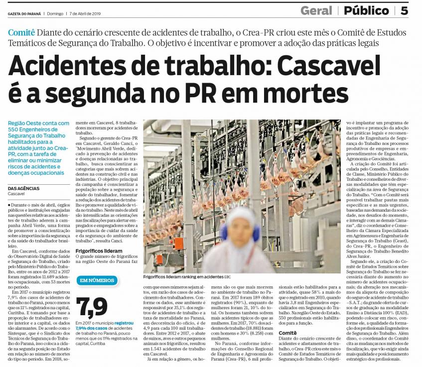 Matéria de meia página falando sobre a grande quantidade de acidentes de trabalho em Cascavel