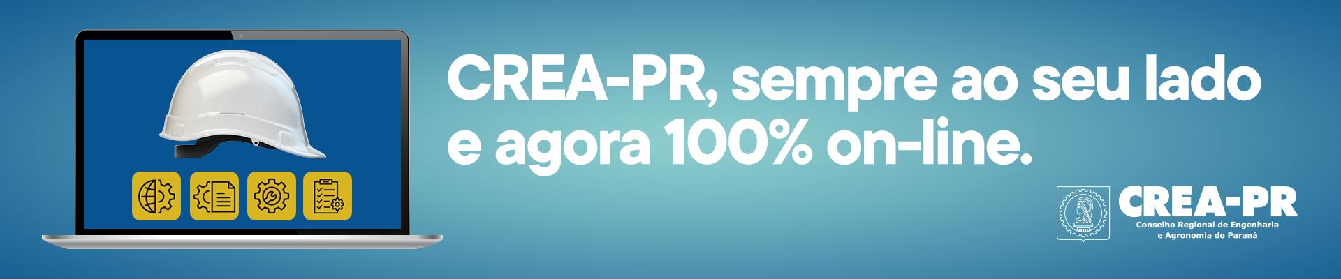 Crea-PR 100% on-line! Clique aqui e saiba mais.
