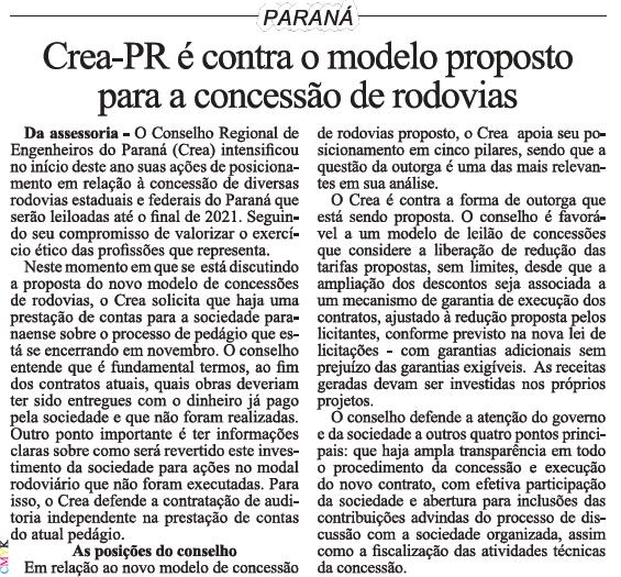 Crea-PR é contra o modelo proposto para a concessão de rodovias