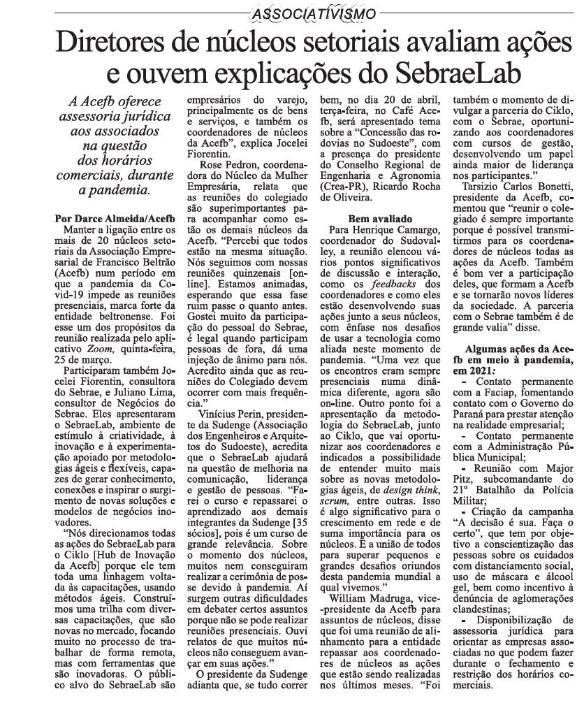 Diretores de núcleos setoriais avaluiam ações e ouvem explicações do SebraeLab