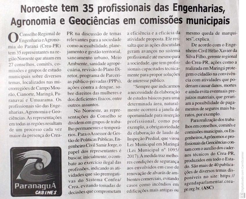 Noroeste te 35 profissionais das Engenharias, Agronomia e Geociências em comissões municipais