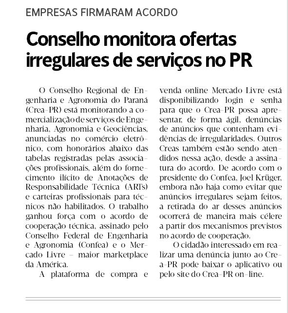 Conselho monitora ofertas irregulares de serviços no PR