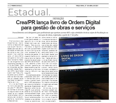 Crea-PR lança livro de Ordem Digital para gestão de obras e serviços