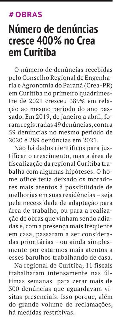 Número de denúncias cresce 400% no Crea em Curitiba
